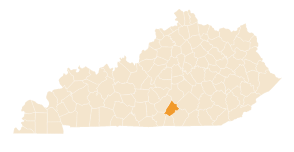 Map of Kentucky with county highlighted